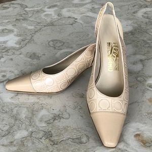 Salvatore Ferragamo Leather Sling Back Heels